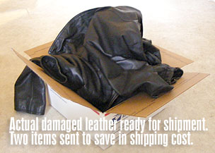 package of leather garments for shipment to LA Leather Cleaners